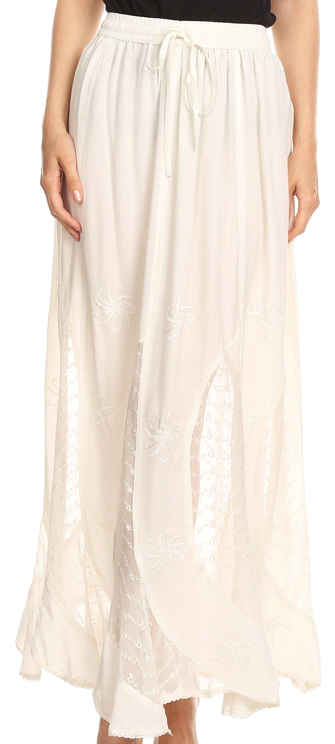 Sakkas 6008 - Aleja Womens Bohemian Gypsy Maxi Long Skirt Adjustable Elastic Waist Lace - Natural - XL