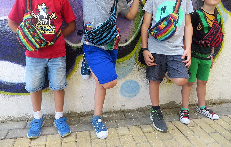 Ri/ñonera Hippie con 3 Bolsillos Estilo Rasta Etnico Tribal Urbano Casual Bolso de Cadera Unisex C/á/ñamo Multicolor