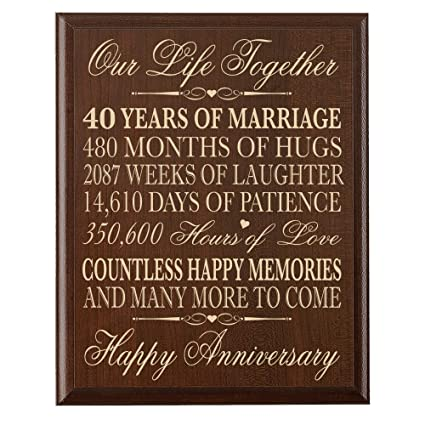 40th Wedding Anniversary Gift.Lifesong Milestones 40th Wedding Anniversary Wall Plaque Gifts For Couple 40th Anniversary Gifts For Her 40th Wedding Anniversary Gifts For Him 12