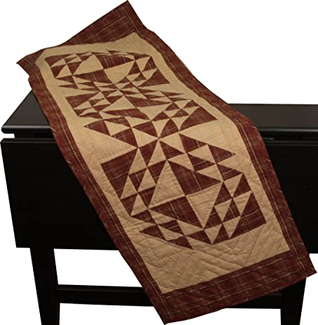 Colonial Patches Burgundy Table Runner Quilt 50 Inches Long By 17 Inches  Wide 100% Cotton