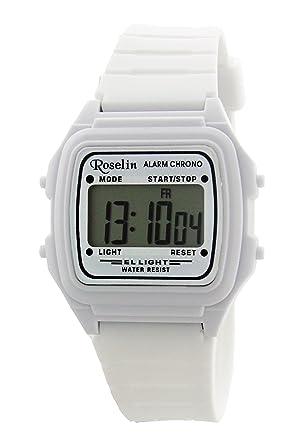 Roselin digital blanco, alarma, cronometro, calendario, 5 ATM: Amazon.es: Relojes