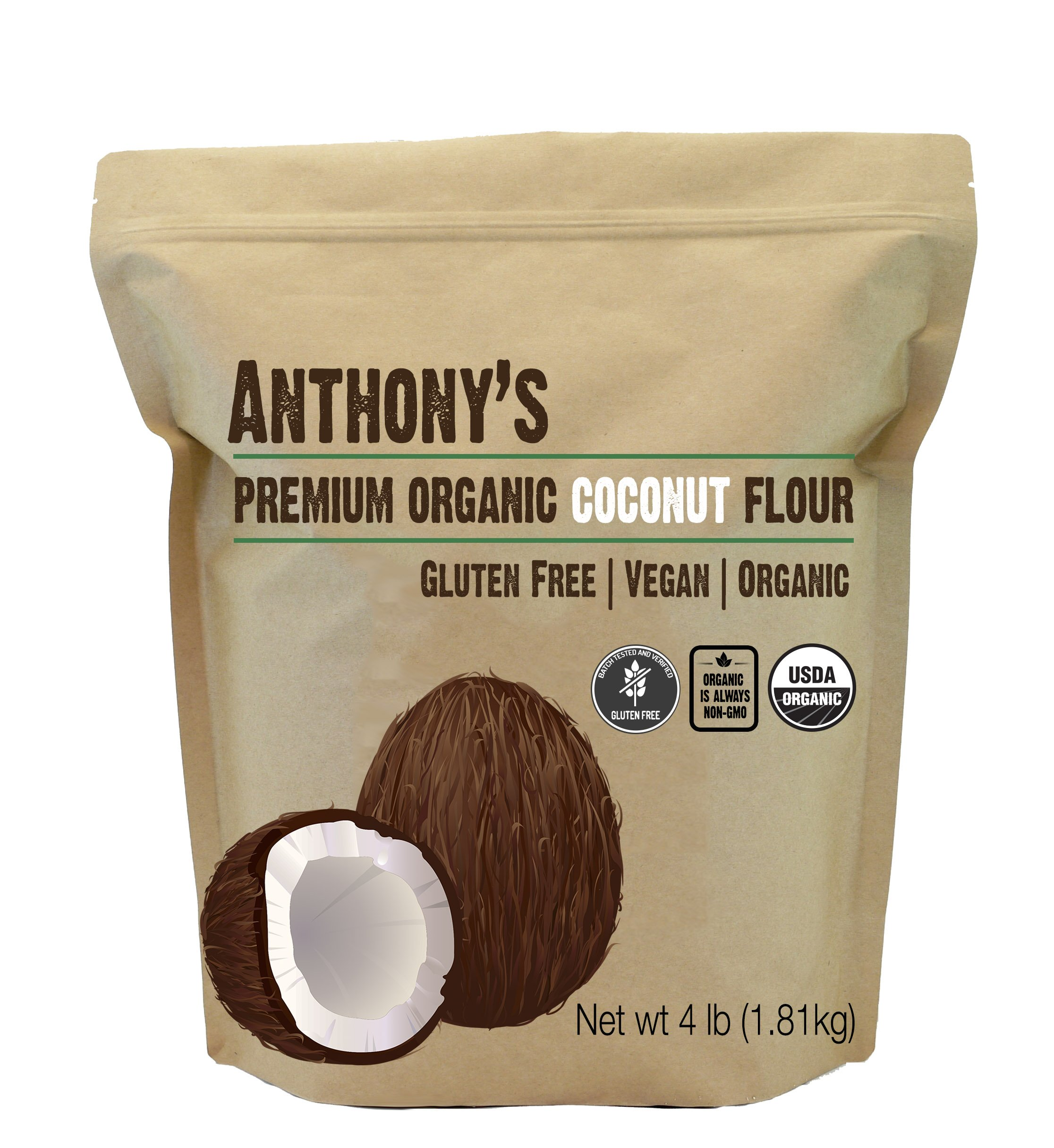 Organic Coconut Flour (4 lb) by Anthony's, Verified Gluten-Free, Non-GMO