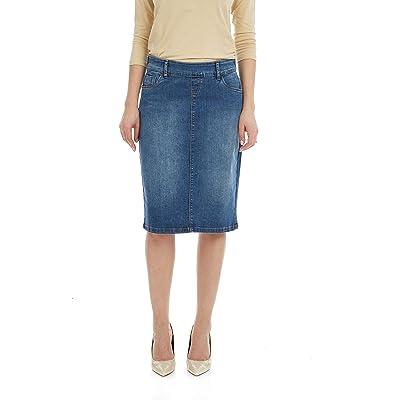 ESTEEZ Women's Denim Skirt - Modest - Straight Cut Knee Length - Stretch Jean - Manhattan at Women's Clothing store