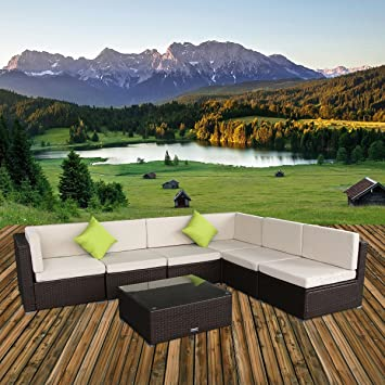 U Max 7 Piece 3 7 Pieces Patio PE Rattan Wicker Sofa Sectional Furniture