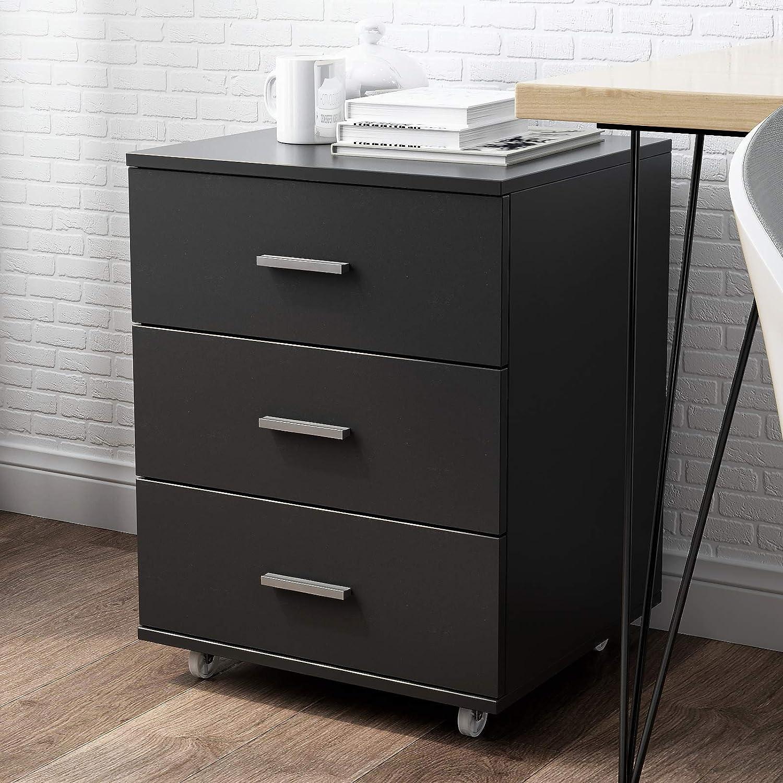 Soges 3 Drawer Mobile File Cabinet Locking Office Cabinet Under Desk Large Filing Cabinet On Wheels Functional Wood Cabinet for Home Office Black SZKST-OC-B-CA