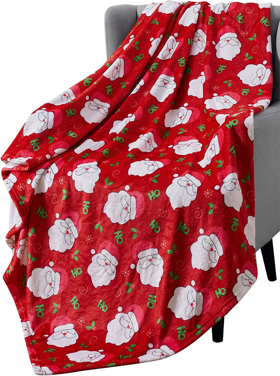 Holiday Christmas Decorative Throw Blanket: Soft Comfy Velvet Plush Cute Santa Claus Pattern, Accent for Couch Bed Chair, Red White Green (Santa)