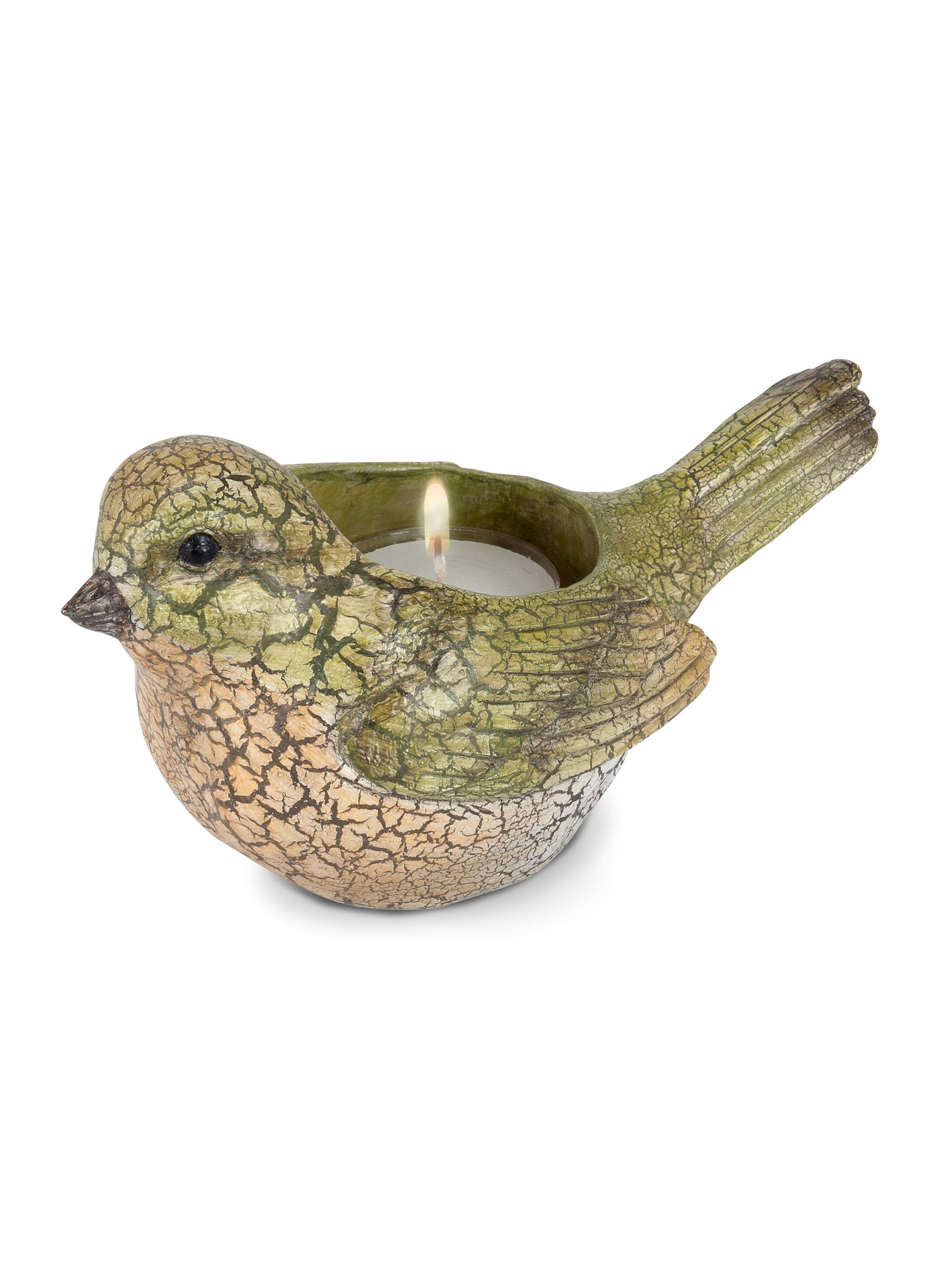 Abbott Collection 27-FINCH/TLITE Bird Tealight Holder, Green