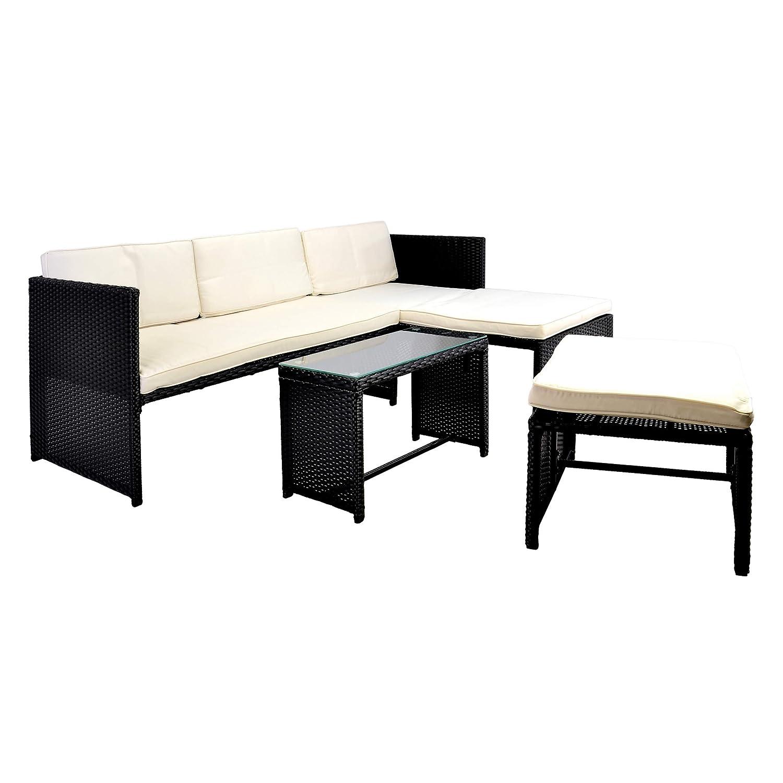 Nexos Rattan Sitzecke mit Tisch Poly Rattan Garnitur Garnitur Garnitur Sitzgruppe Gartenmöbel Terrasse schwarz 09a827