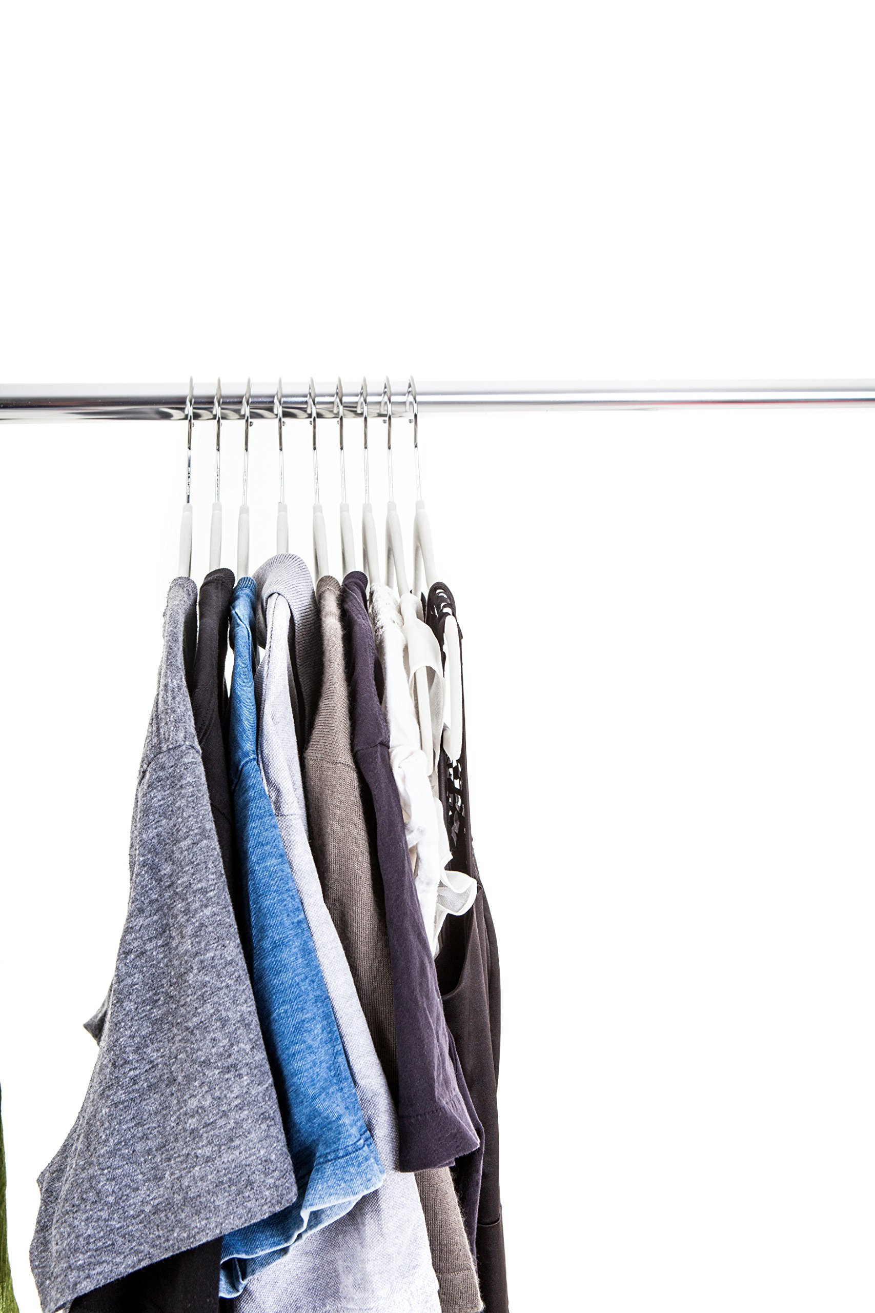 50 pc Premium Quality Off-White Velvet Hangers - Space Saving Thin Profile, Non-slip Padded with Notched Shoulders for Dresses and Blouses â€'' Strong Enough for Coats and Pants