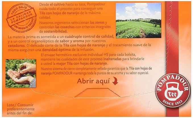 Pompadour Té Infusion Tila con Hojas de Naranja - 20 bolsitas - [Pack de 10]: Amazon.es: Alimentación y bebidas
