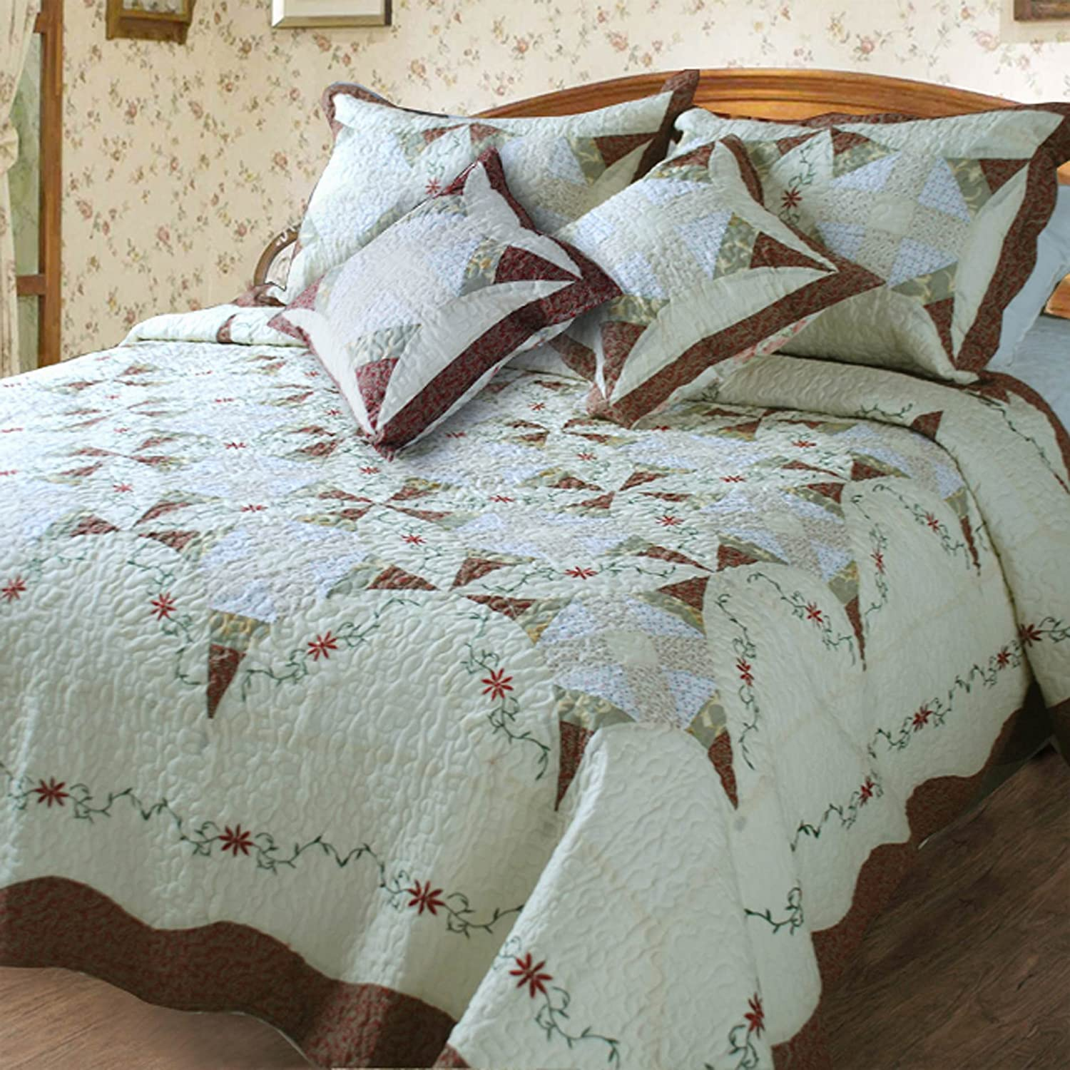 2 Classic Cotton 5-Piece Quilt Set, Queen, Patchwork, Ivory
