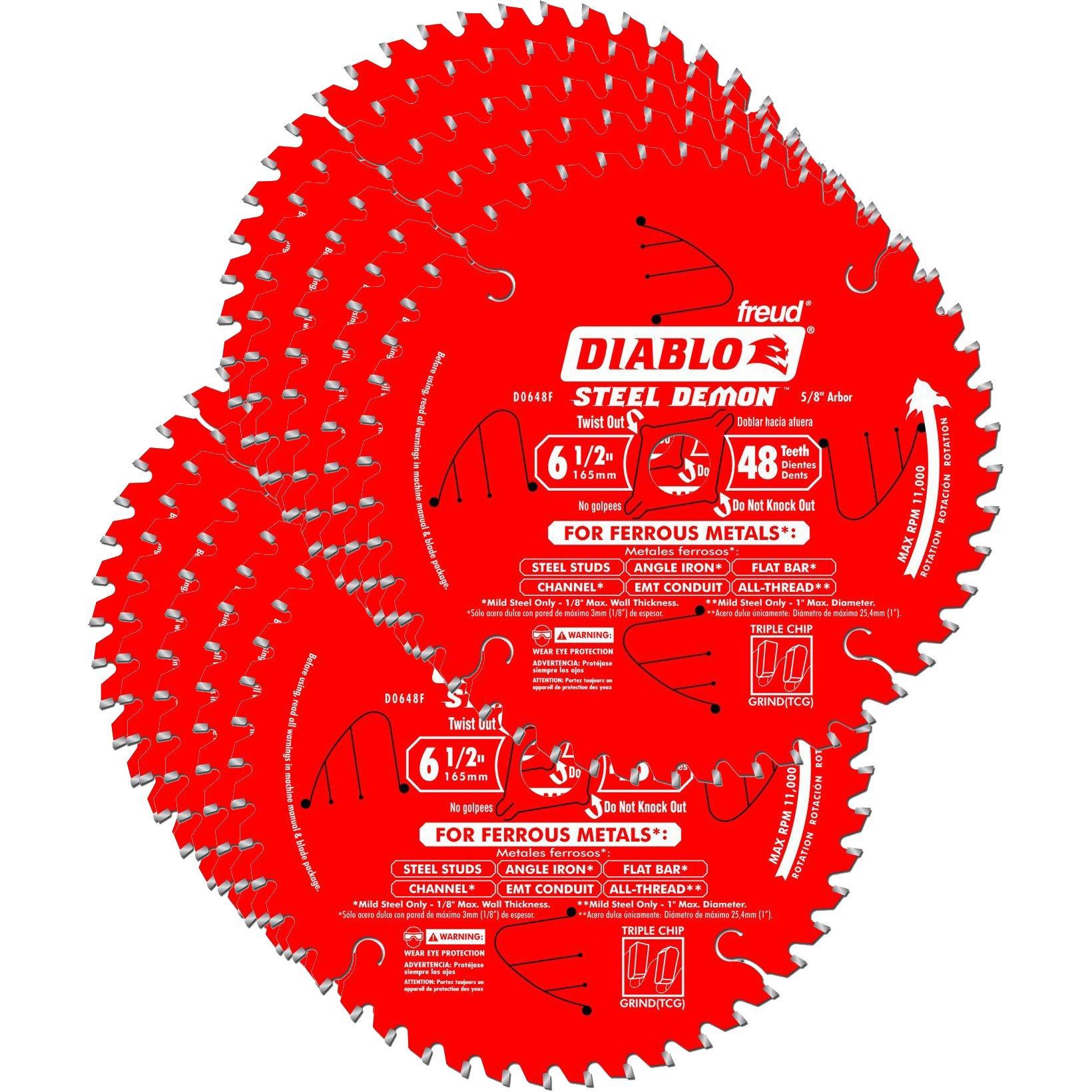 Hoja Sierra Diablo por Freud D0648 Ø165mm - 48 Dientes - eje 16mm para Metales [10un]