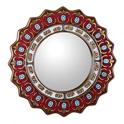 NOVICA Red Reverse Painted Glass Wood Framed Decorative Star Wall Mirror From Peru u0027Ruby Medallion  sc 1 st  Amazon.com & Amazon.com: NOVICA Red Reverse Painted Glass Wood Framed Decorative ...