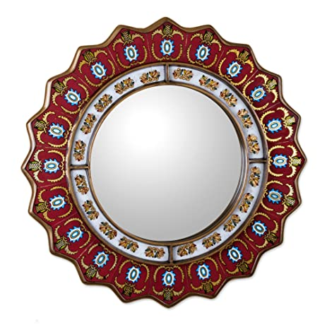Amazon.com: NOVICA Red Reverse Painted Glass Wood Framed ...