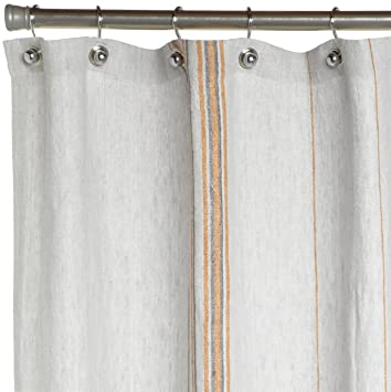 Amazon.com: Coyuchi Rustic Linen Shower Curtain, Pewter with ...