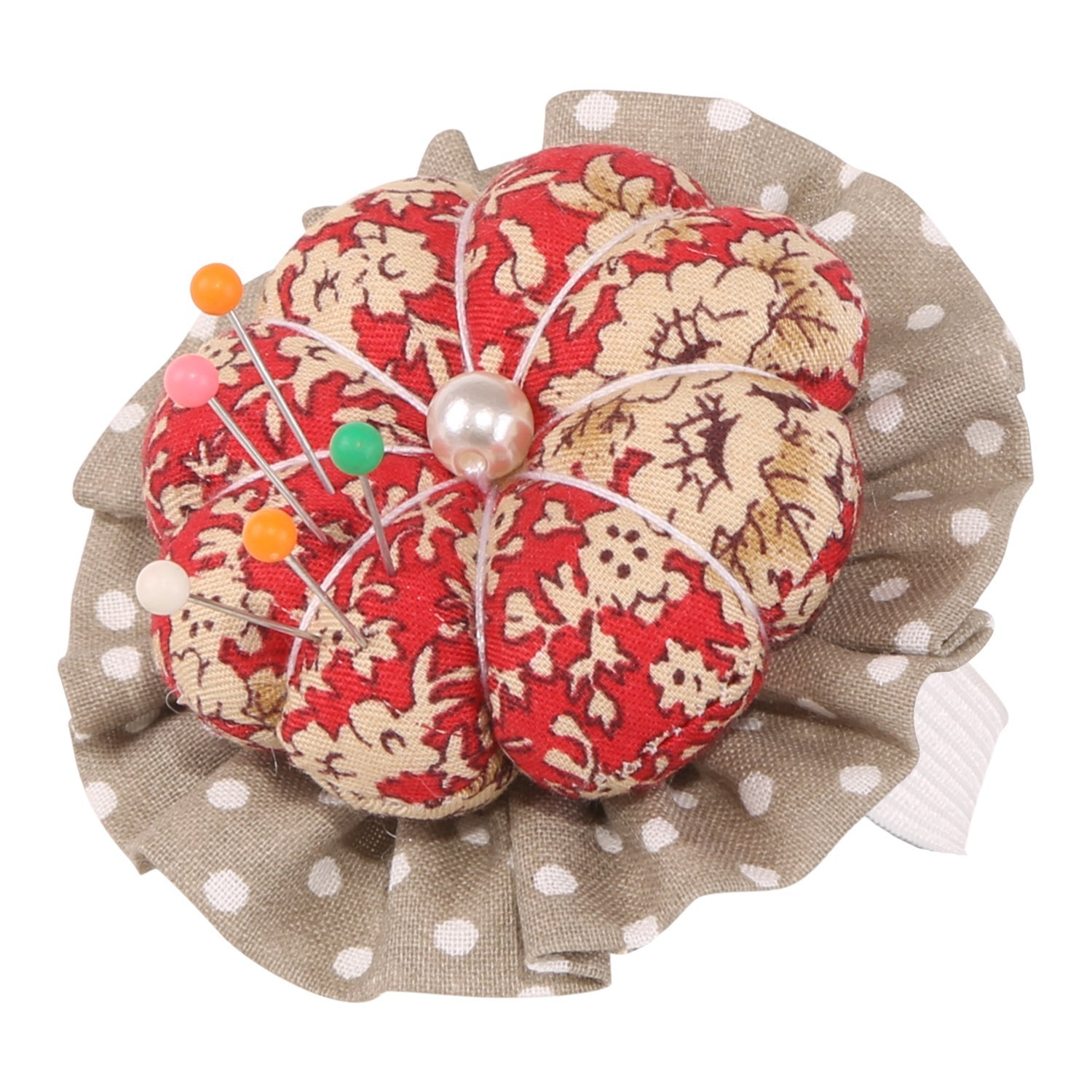 Neoviva Cotton Twill Fabric Coated Wrist Wearable Pin Cushion for Needlework, Style Flower Blossom, Floral Mandarin Red Polka Dot LTD