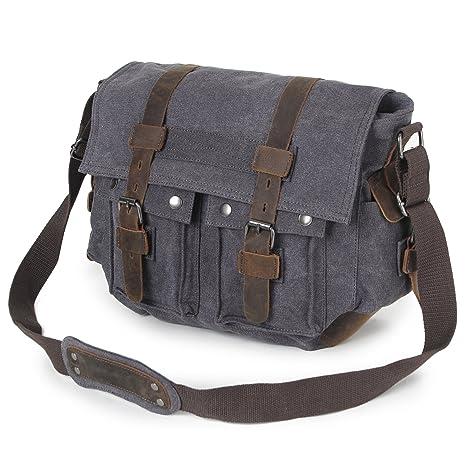 78de671fff3 Men Messenger Bag, Veckle Canvas Satchel Vintage Laptop Shoulder Crossbody  Bag with Genuine Leather Strap