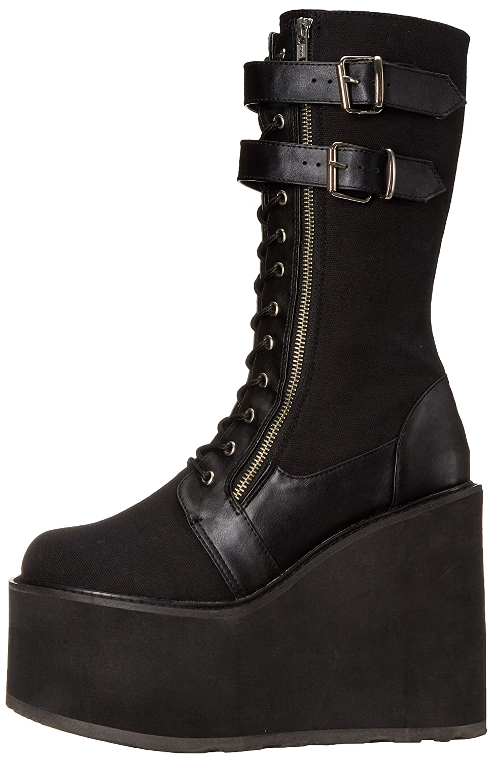 Demonia Women's SWI221/BCA-VL Boot B016D6AR16 6 B(M) US|Black Canvas Vegan Leather