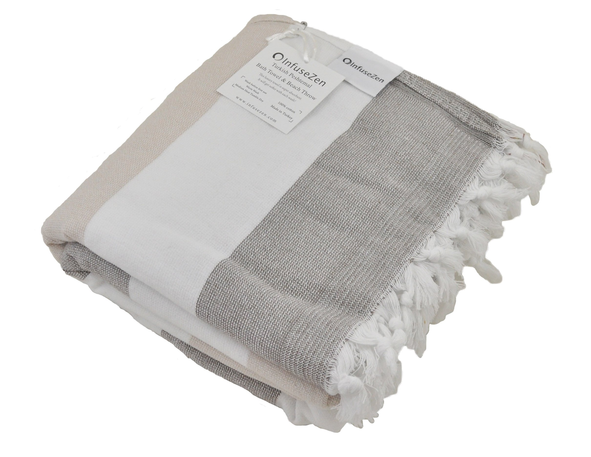 InfuseZen Large Turkish Towel with Soft Terryback, Striped Peshtemal Terry Back Turkish Bath Towel, Gym and Beach Towel, Thin Oversized Hammam Towel, Plus Size Fouta, Big Bath Sheet (Brown and Beige) - Soft terry back Turkish towel - THIN, lightweight, absorbent and fast drying The best of both worlds - enjoy the luxury of a Turkish Peshtemal towel with the comfort of a terry towel Great as a bath towel, beach towel, gym towel or towel for camping, hiking or picnics - bathroom-linens, bathroom, bath-towels - 81g1 c1nbvL -