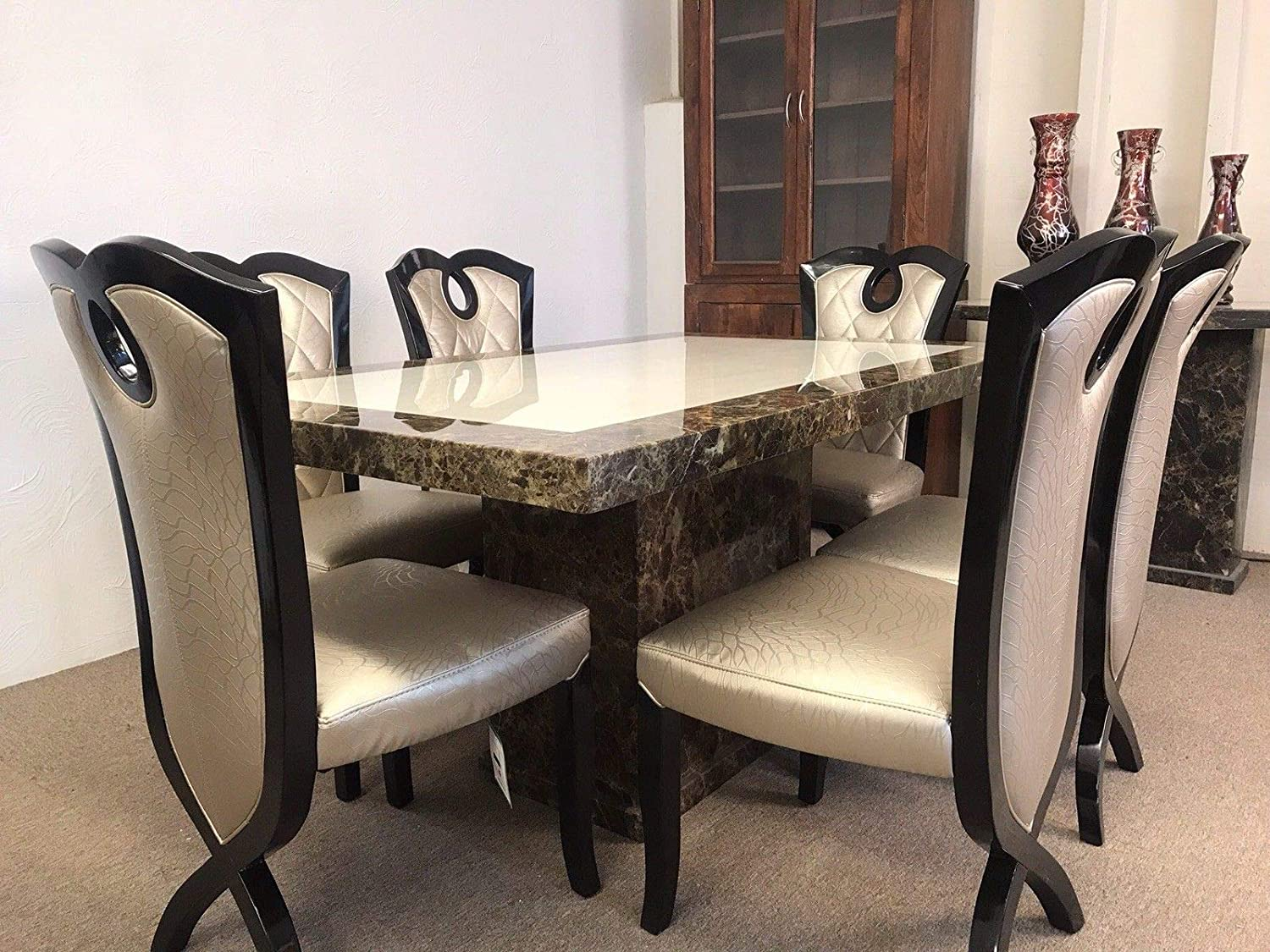 Rectangular Monaco Marble Dining Table And 6 X Gold Cross Legged Chairs 160 Amazon Co Uk Kitchen Home