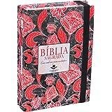 Bíblia Sagrada com caderno para anotações - Capa flores vermelhas: Almeida Revista e Atualizada (ARA) com Fonte de…