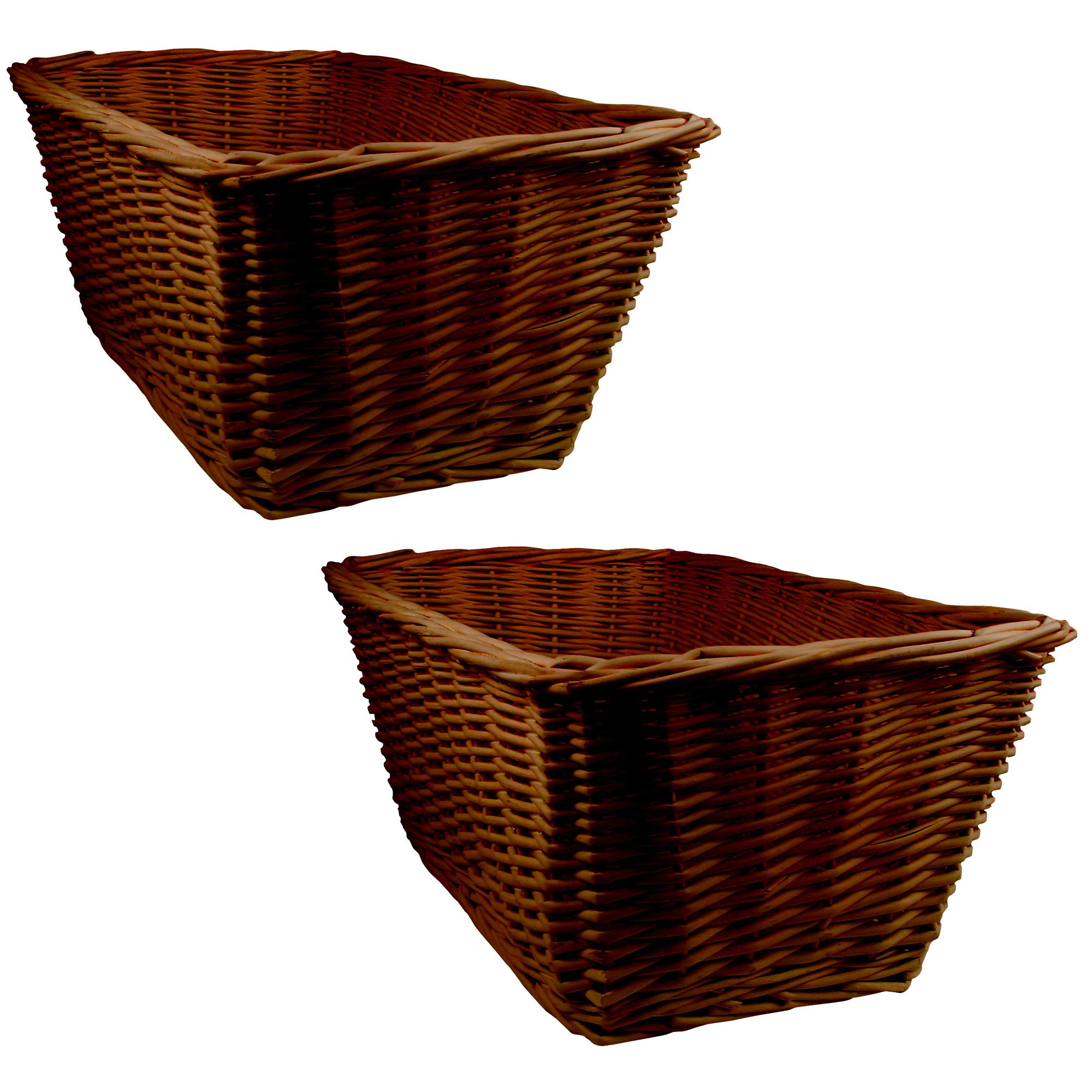 Lambs & Ivy Espresso Wooden Storage Basket - 2 Pack - Brown, Modern,