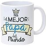 Mopec Taza Cerámica para el Mejor Papá en Caja Regalo, Porcelana, Blanco, 8.1x8.1x9.5 cm
