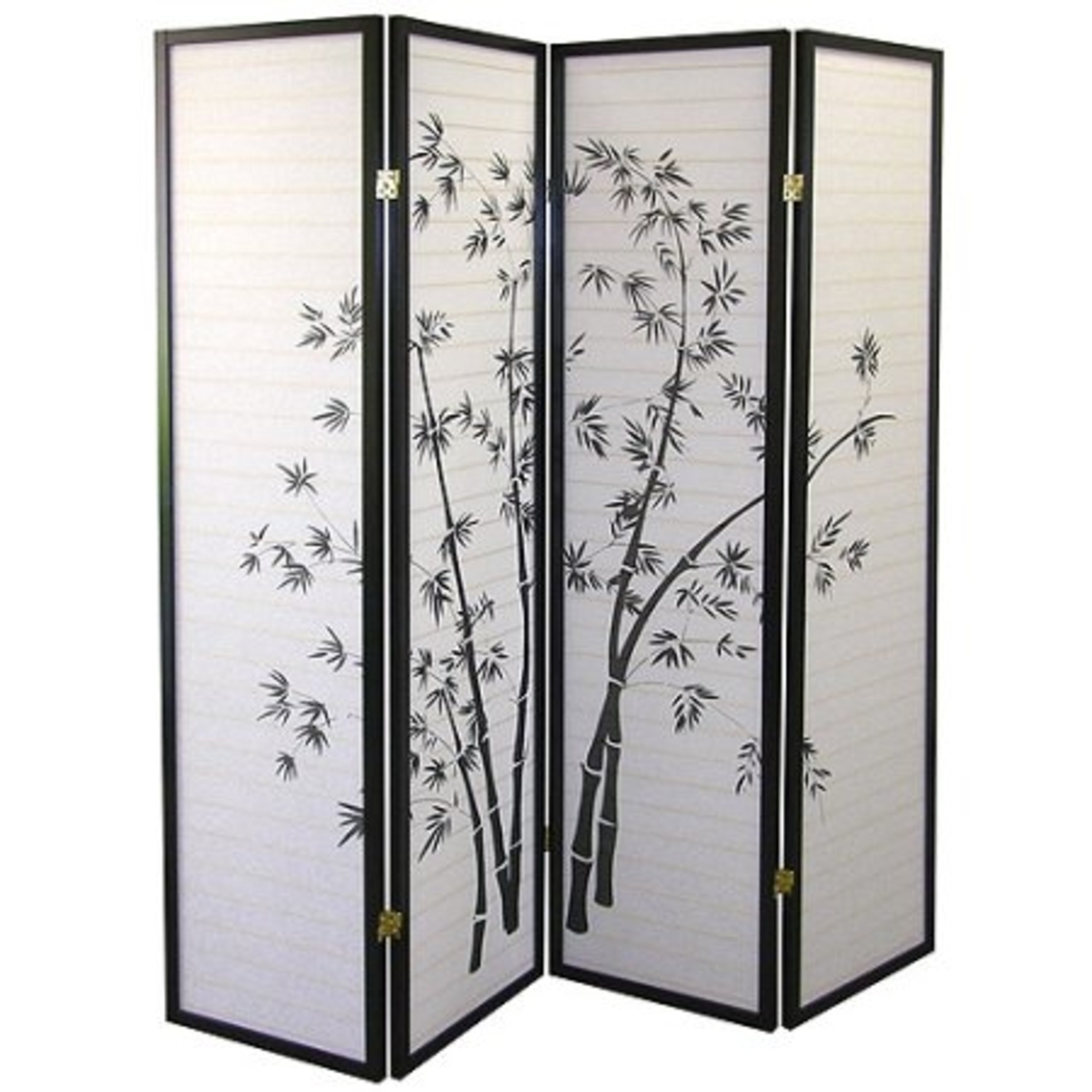 Lovely Bamboo Silhouettes Wood Frame with Black Finish 4 Panels Divider