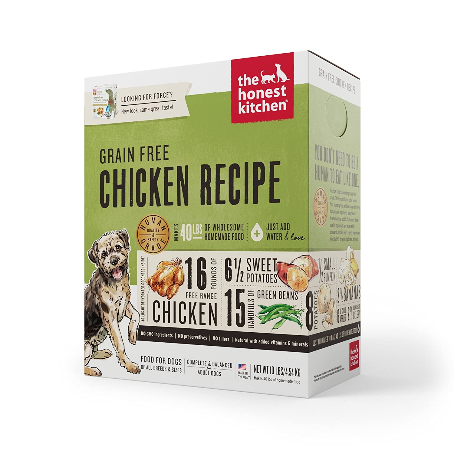 Amazon.com : Honest Kitchen The Human Grade Dehydrated Grain Free Chicken Dog  Food, 10 Lb   Force : Dehydrated Pet Food : Pet Supplies