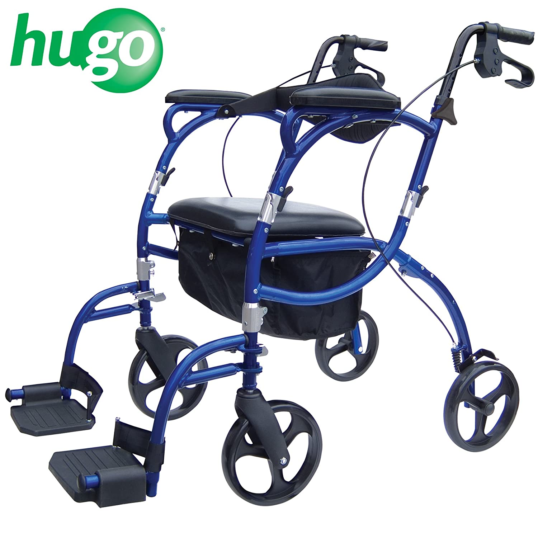 Transport chair amazon - Amazon Com Hugo Navigator Combo Rollator Walker Transport Wheelchair Blue Health Personal Care