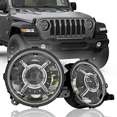 "Round 9"" Inch Halo LED Headlights for 2020 2020 2020 Jeep Wrangler JL Gladiator Renegade SUV: Automotive"