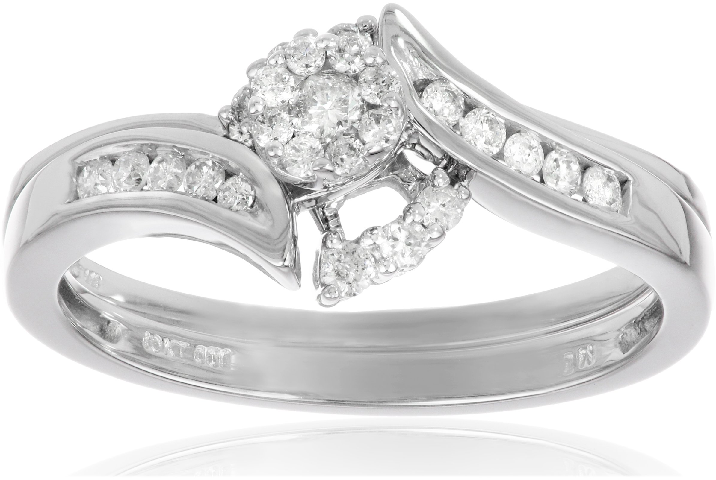 10k White Gold Round Cluster Top Diamond Bypass with Interlocking Band Bridal Set (0.25 cttw I-J Color, I2-I3 Clarity), Size 6