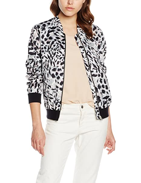 New Look Animal Print Bomber-Chaqueta Mujer Blanco White (White Patterned) 40