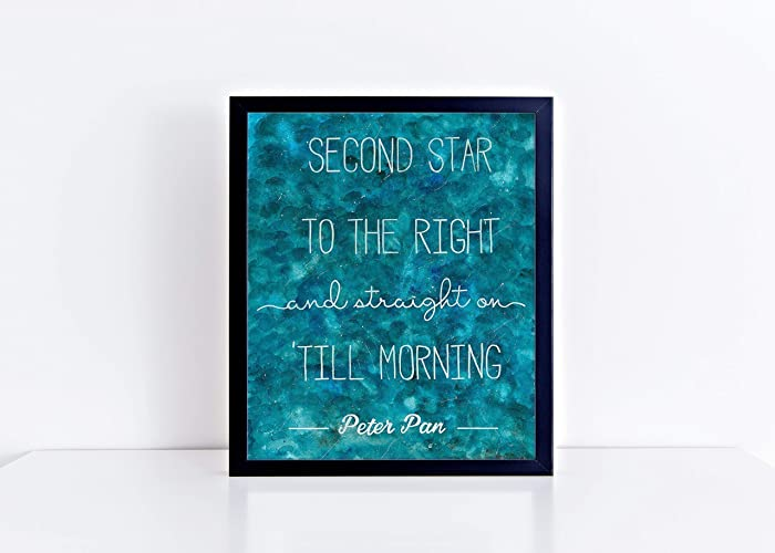 Amazoncom Peter Pan Second Star To The Right 8x10 Watercolor Quote