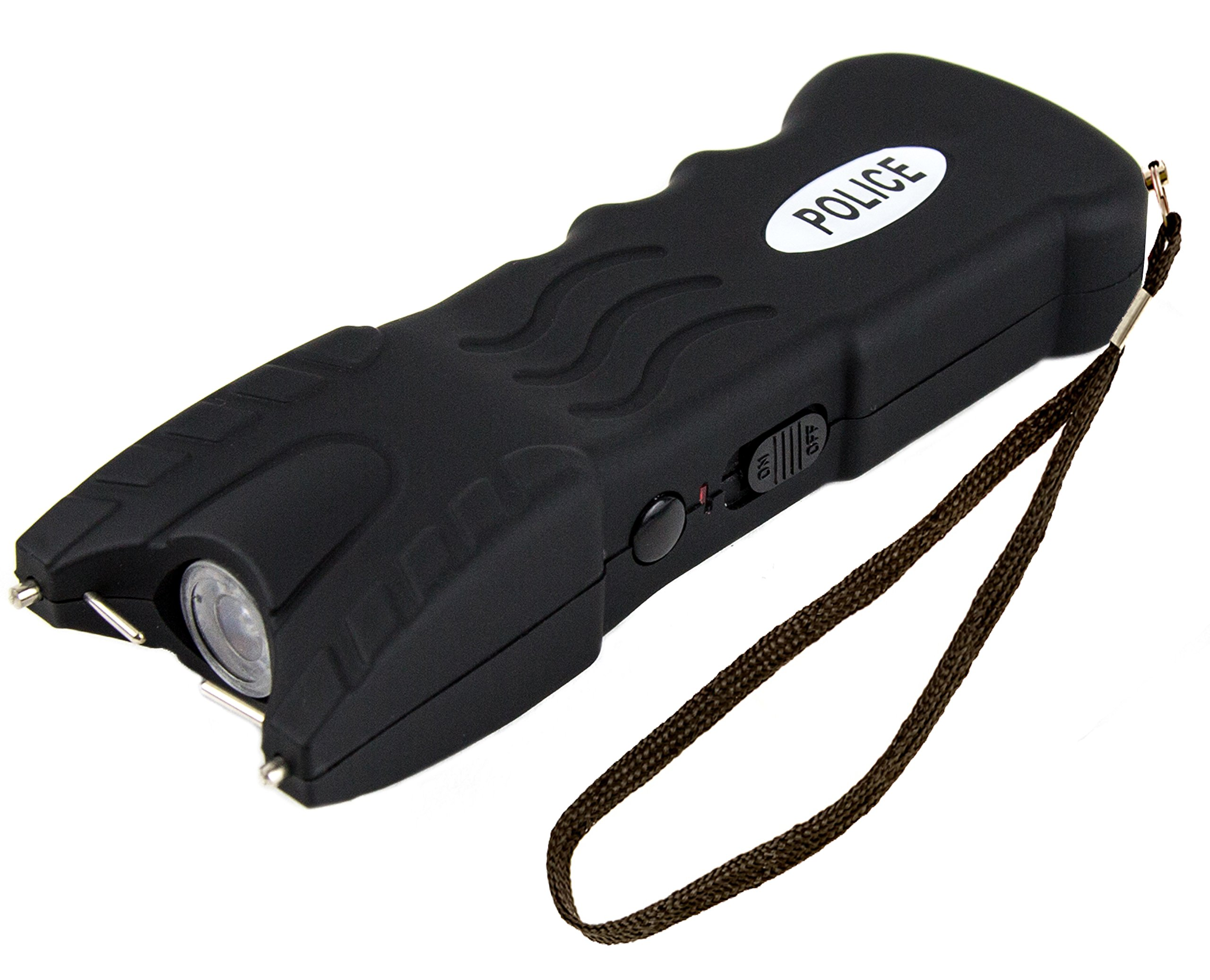 Police 916B - Max Voltage Heavy Duty Stun Gun - Rechargeable With Safety Disable Pin LED Light and Holster Case, Black