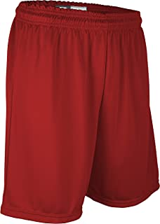 """product image for PT-6477P-CB Men's 7"""" Athletic Pro Basketball Short with Pockets and Draw String (Small, Red)"""