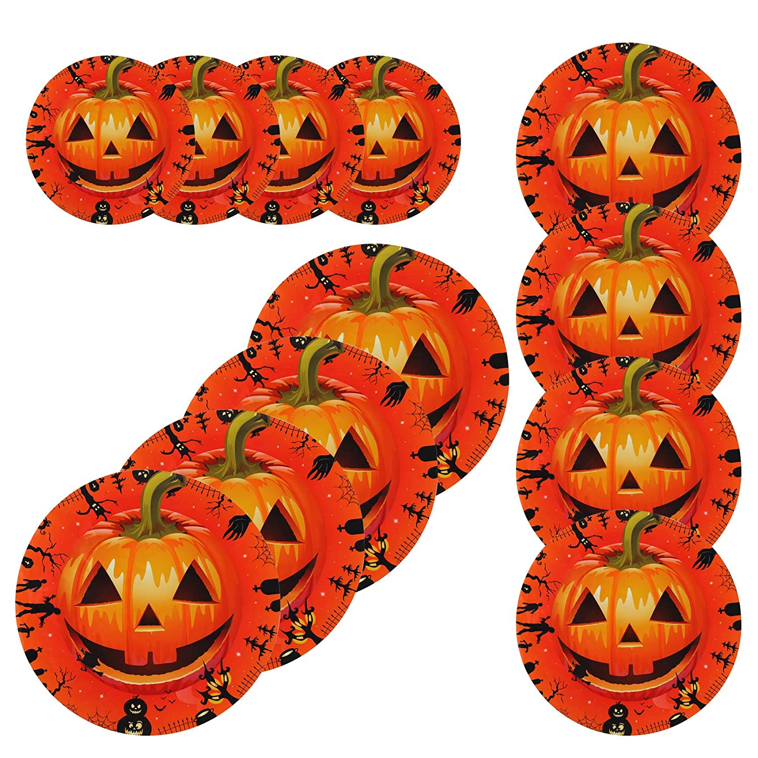 12 Pcs Halloween Pumpkin Signs Floor Sticker Decals Wall Scary Round Stickers Waterproof PVC Party Decoration Supplies