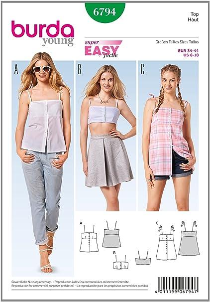 Burda Young, Patrones de Costura para, 6794 Tops, Camisas, Blusas