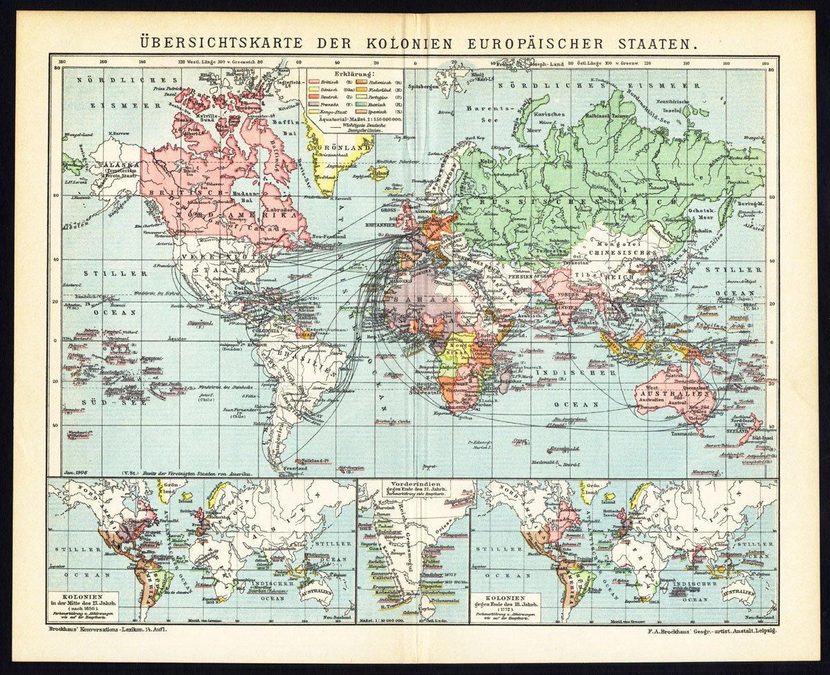 Mapa del mundo antiguo ThePrintsCollector mapa-colonias europeas-Colonia-Meyers-1895: Amazon.es: Hogar