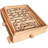Global Gizmos Kids Adults Traditional Wooden Labyrinth Toy Maze Game 2 x Balls