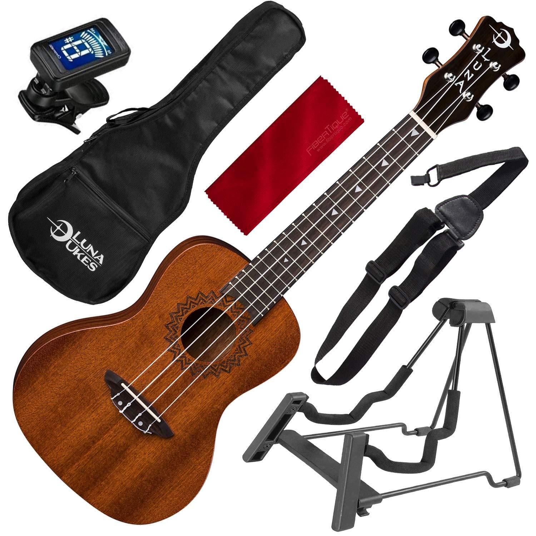 Luna Uke Vintage Mahogany Concert Acoustic Ukulele with Instrument Stand, Ukulele Strap, and Microfiber Cloth by Luna - Photo Savings