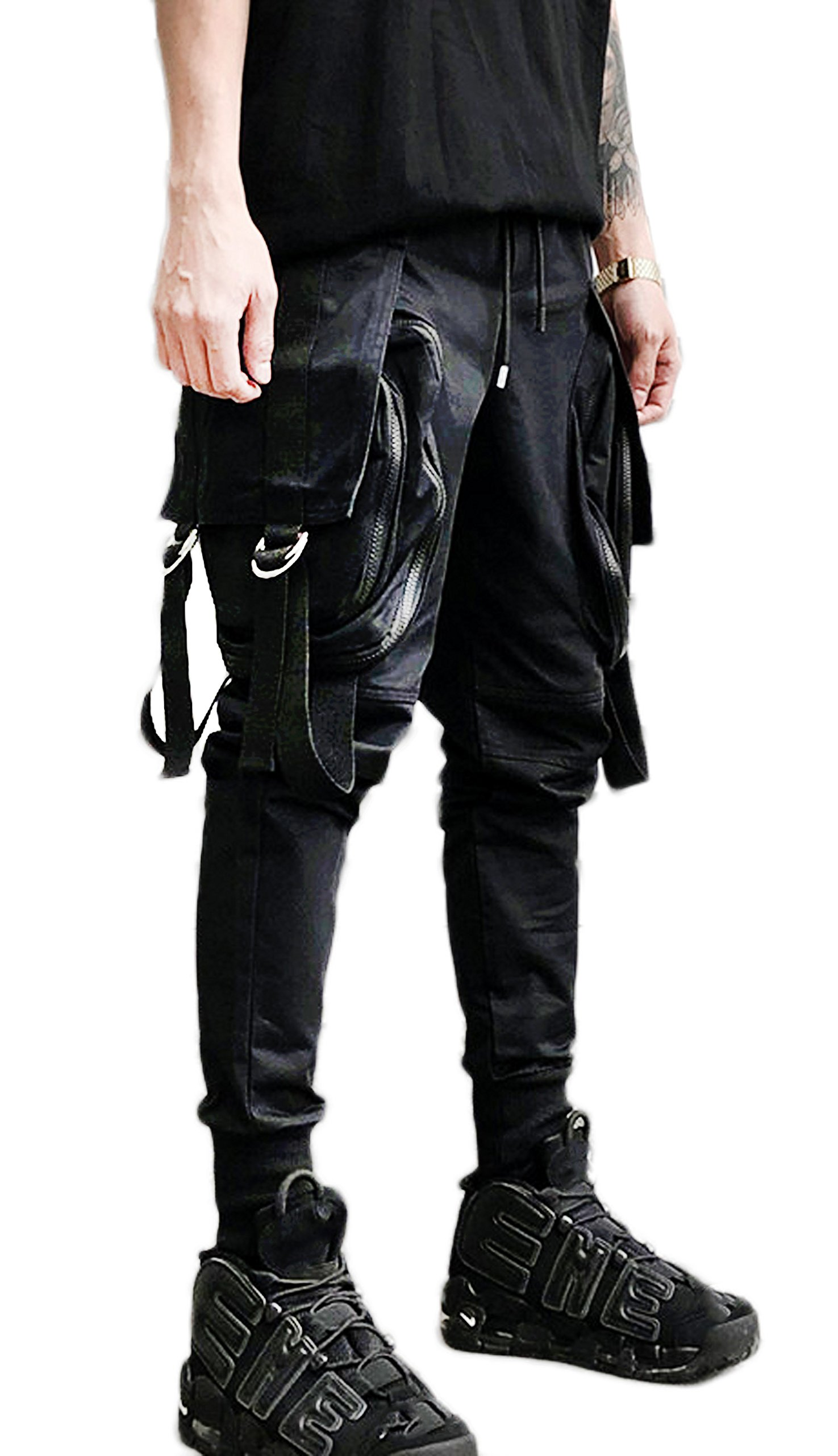 MOKEWEN Men's Elastic Waist Big Zipper Pocket