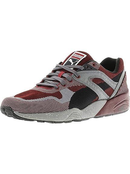 88d769539bf4 Puma Men s R698 Knit Mesh Splatter Rio Red Steel Gray Sneaker 5 D (M ...