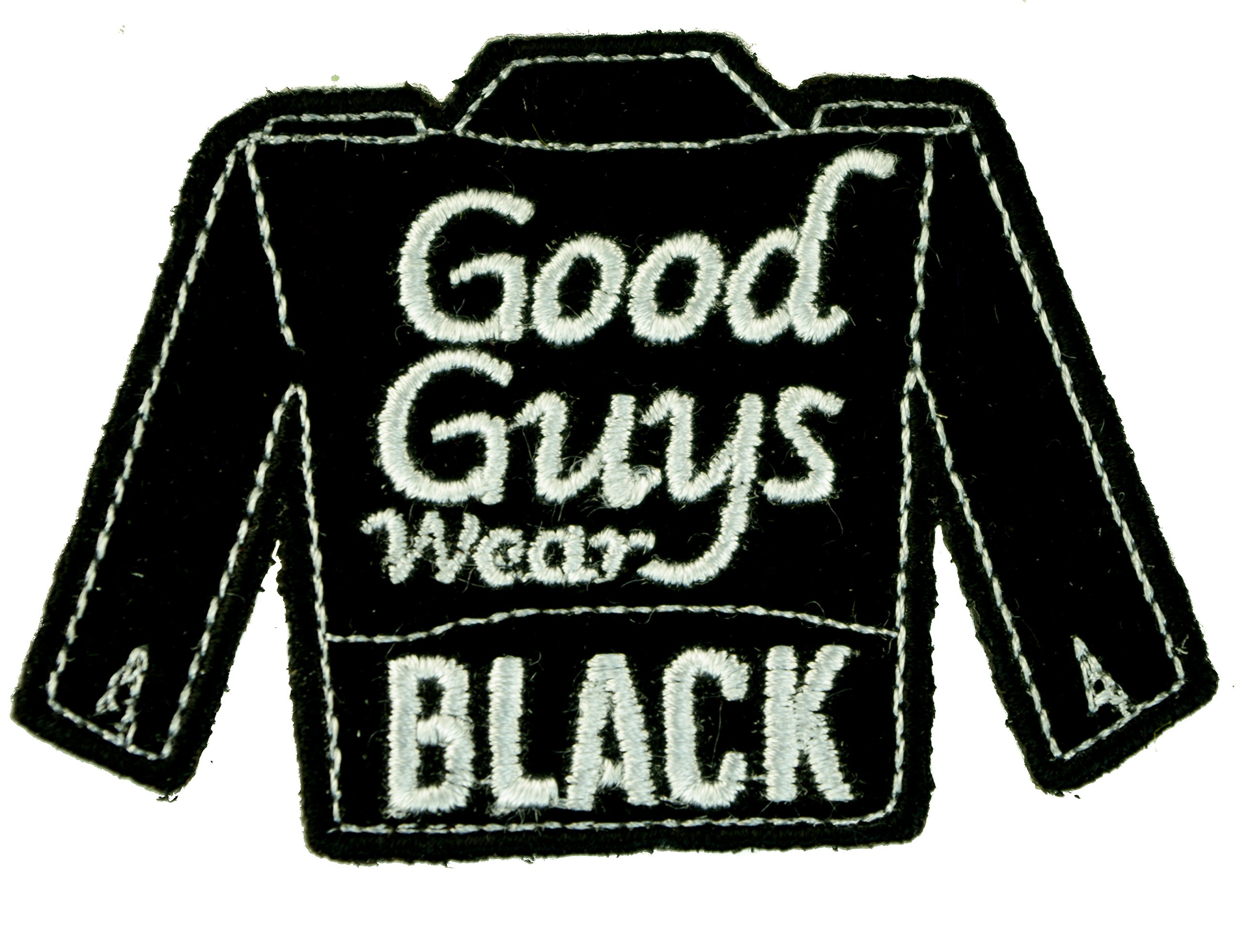 Good Guys Wear Black Leather Jacket Biker Small Iron On Embroidered - Good guys clothing