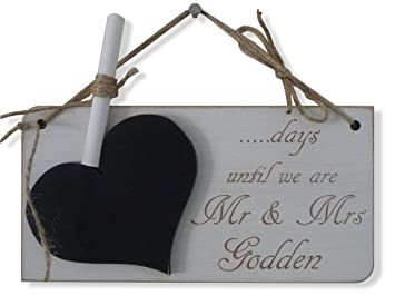 Personalizado boda cuenta atrás señal, placa de pizarra ...