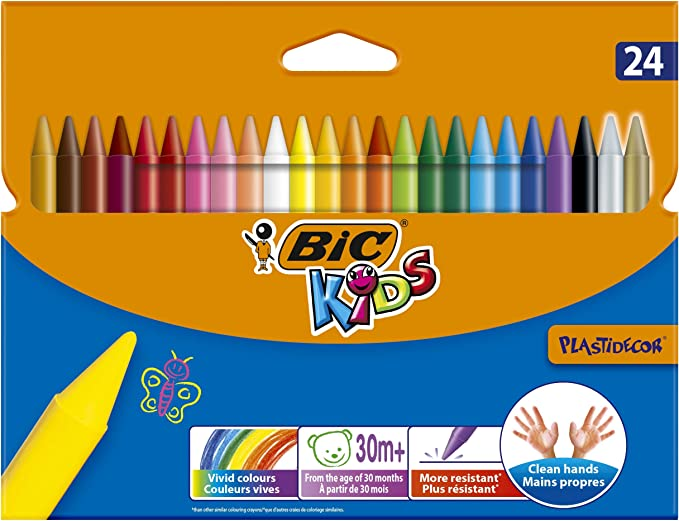 BIC Kids Crayons Assorted Colors Durable Case 36-Count