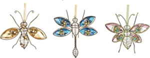 Midwest CBK Set of 3 Garden Critters Decor Standing or Hanging Ornaments - Dragonfly Butterfly and Bee