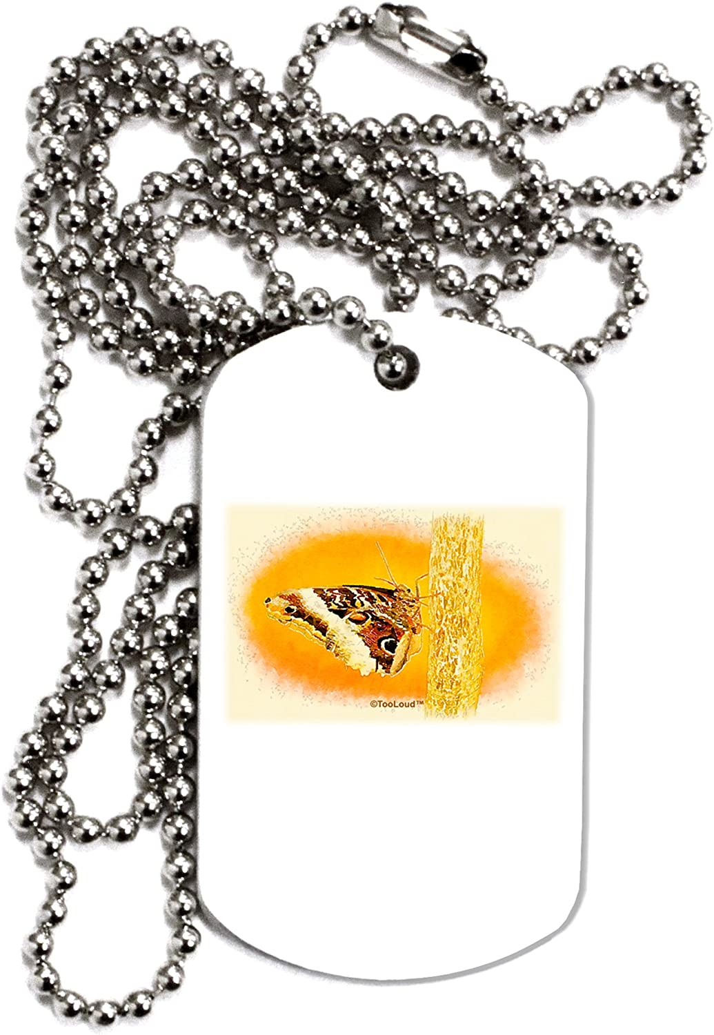 TOOLOUD Watercolor Owl Moth Adult Dog Tag Chain Necklace