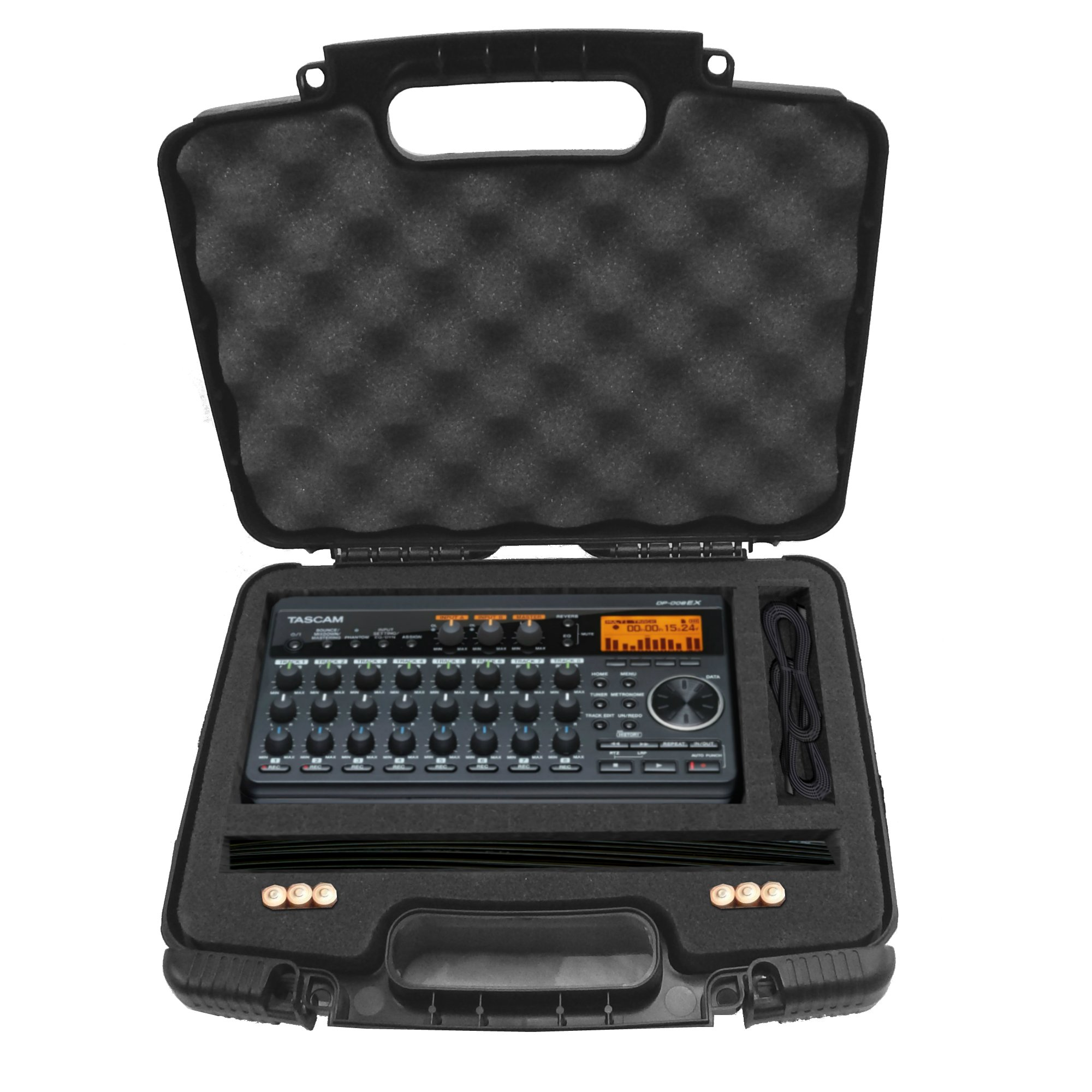 TOUGH Recorder and Accessory Hard Case w/ Dense Foam for TASCAM Dp-008ex , DP-006 Digital Pocket Studio Multi-Track Recorders , Adapter , Cables and Charger