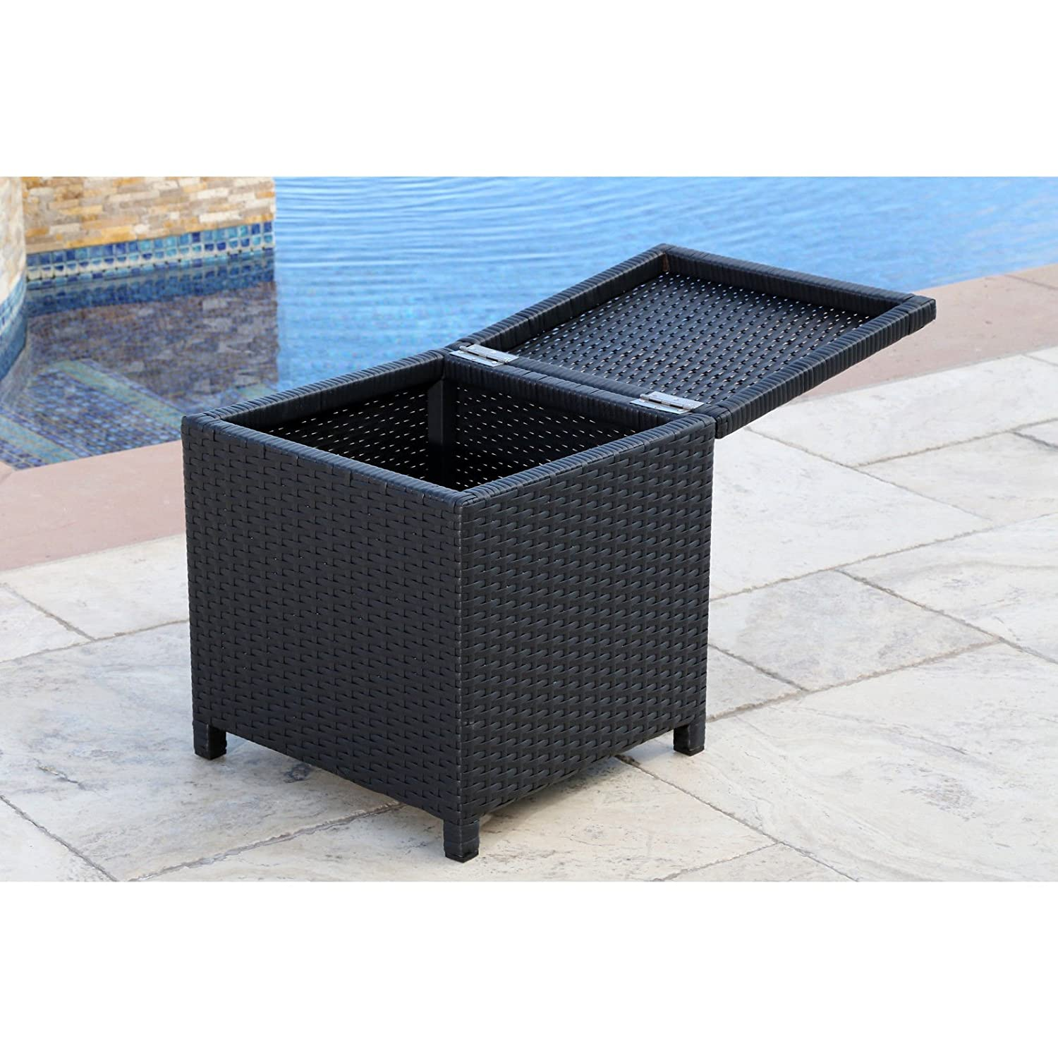 Amazon.com : Abbyson Living Newport Outdoor Black Wicker Storage Ottoman  For Patio Pool : Garden U0026 Outdoor
